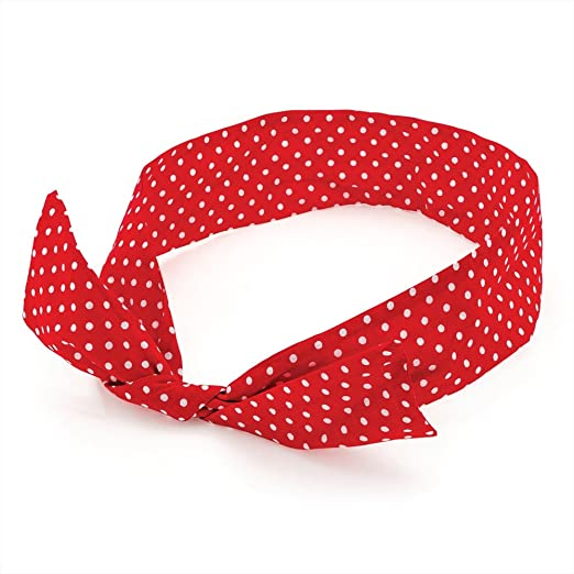 1940s Hairstyles- History of Women's Hairstyles Red & White Polka Dot Bow Wire Headband Scarf £1.70 AT vintagedancer.com