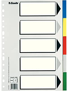 Esselte Separadores de plástico, PP, Tamaño folio, Gama ECO, 5 pestañas,