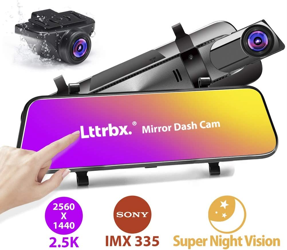 Lttrbx 10'' 2.5K Mirror Dash Cam Backup Camera for Cars with Full Touch Screen, Front and Rear Dual Lens, IPX7 Waterproof, WDR Night Vision, Sony IMX335 Starvis Sensor, Parking Monitor