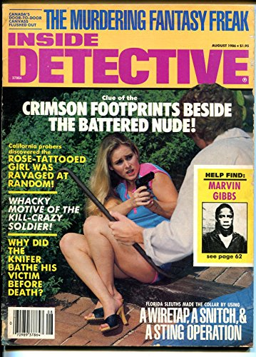 Inside Detective 8/1986-spicy gun moll cover-violent pulp crime - Covers Magazine Detective