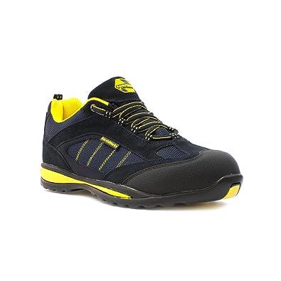 Earth Works Safety - Zapato de seguridad, acordonado, negro y azul, para hombre EarthWorks - Talla 9 UK / 43 EU - Negro
