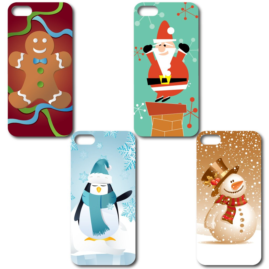 amazoncom iphone 5 case christmas themed set of 4 different designs gingerbread man penguin santa claus and snowman clear protective hard case