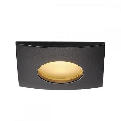 SLV Plafonniers encastrés LED Lampe d'extérieur Out 65Square Downlight, 38°, COB 3000K, IP65, clip plumes Noir 114470