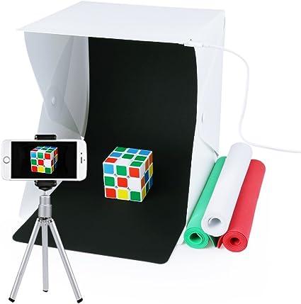 Estudio de fotografía, Caja de fotografía portátil con luz LED 24x22x24cm Mini Estudio de iluminación incl. 4 fondo: Amazon.es: Electrónica