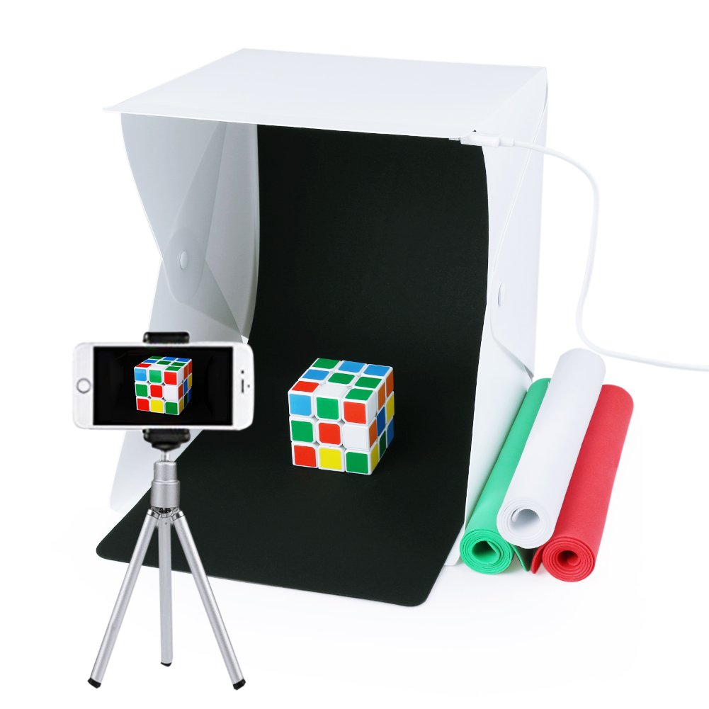 Portable Photo Studio,URiver Mini Folding Table Top LED Light Box and Photography Lighting Tent with 4 Backdrops Kit ( Size:9.5'' x 9.5'' x 8.7'' )