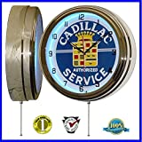 15'' Blue Neon clock with Cadillac Authorized Service Tin Sign