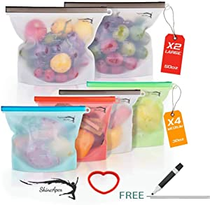 Reusable Silicone Food Storage Bags(set of 6)2Large 50oz,4Medium 30oz,SHINE APEX,Eco-Friendly Airtight seal food preservation bag/Food grade,for Vegetable,Meat, Snack, liquids,