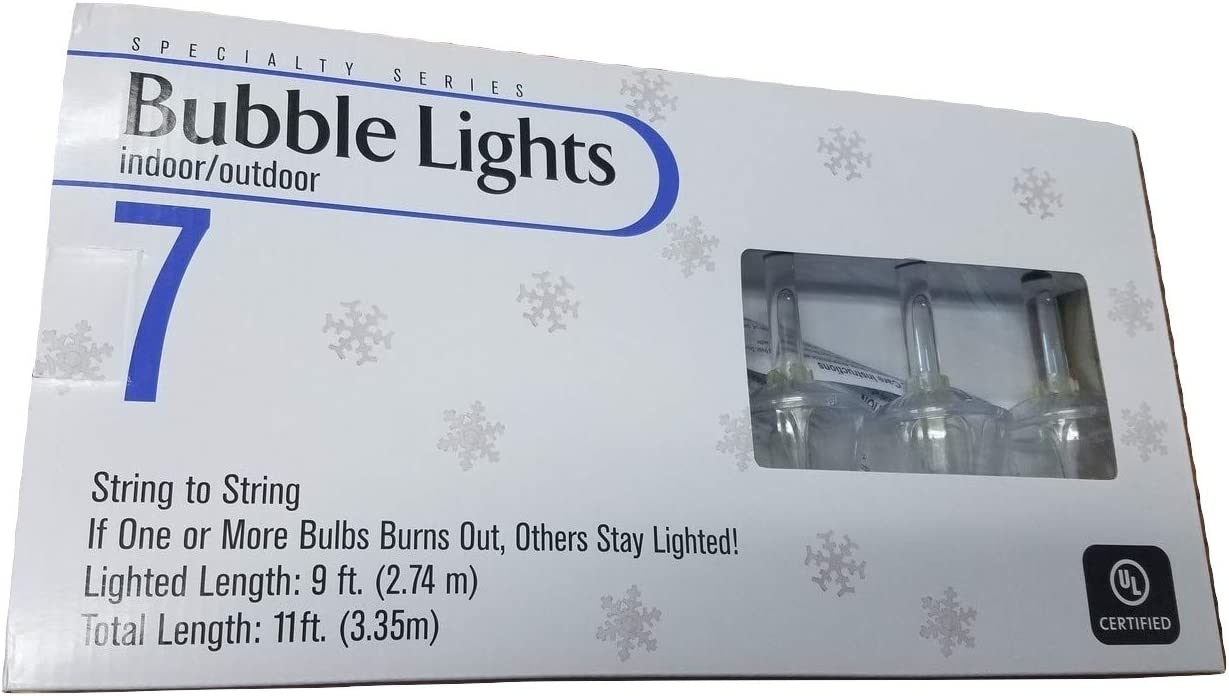 7 Count 9 L Indoor Outdoor Traditional Clear Bubble Light Set