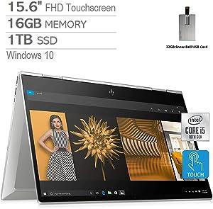 "2020 HP Envy x360 2-in-1 15.6"" FHD Touchscreen Laptop Computer, Intel Core i5-10210, 16GB RAM, 1TB PCIe SSD, Intel UHD Graphics, Bang & Olufsen, HD Webcam, Windows 10, Silver, 32GB Snow Bell USB Card"