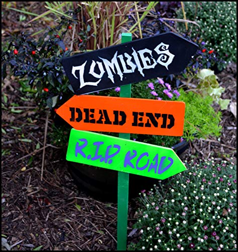 Halloween Yard Stake, Halloween Directional Sign, Halloween Garden Decoration, Zombie, Ghost Town, Haunted Sign, Outdoor Halloween Decor, Zombie Sign, RIP Sign, Dead End Sign]()