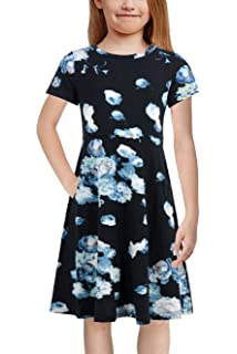 GORLYA Girl/'s Short Sleeve Floral Print Casual Fit and Flare Party Dress with Pockets 4-12 Years