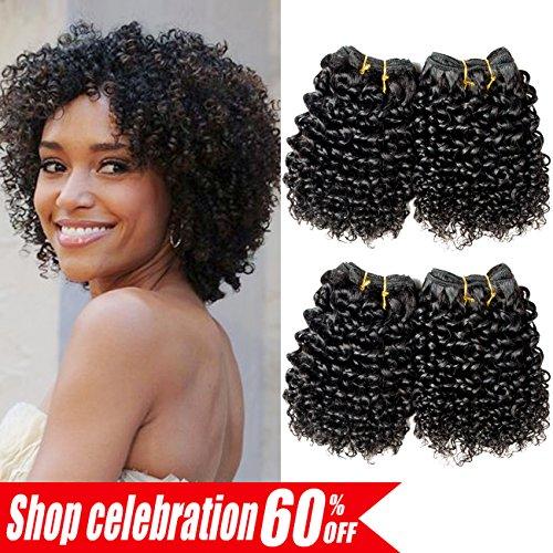 Ameli Hair 4 Bundles Short Human Hair Bundles Brazilian CurlyHair Kinky Curly Virgin Human Hair Weave 50G/Pcs Unprocessed Brazilian Hair Extensions 8 inch 1B#