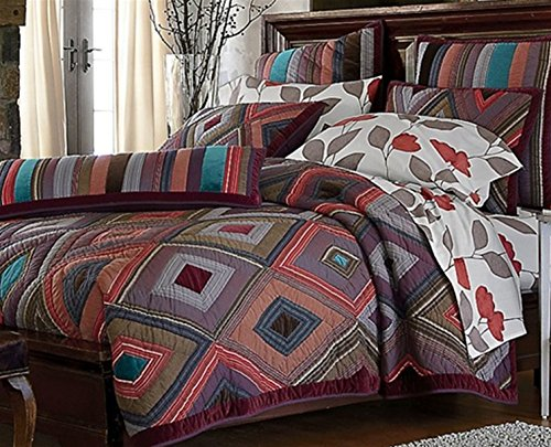 The Company Store Quilt Comforter Breckenridge100 Cotton Hand-pieced Multi Color ( Twin) - Hand Pieced Quilt