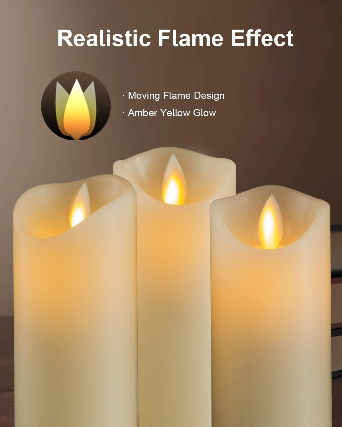5PLOTS Flameless Candles with Remote and Timer (H7'' x D2.2'') - Flickering LED Pillar Candles with Dancing Flame - Battery Operated, Ivory Wax, Set of 6 by 5PLOTS (Image #5)