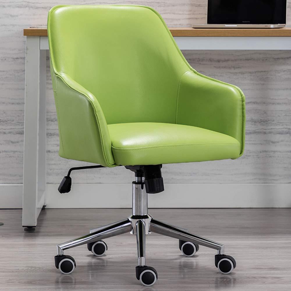 Svängbar kontorsstol mellanrygg justerbar höjd PU-läder säte korsryggsstöd och tyst Caster-hem/kontorsmöbler gRÖN