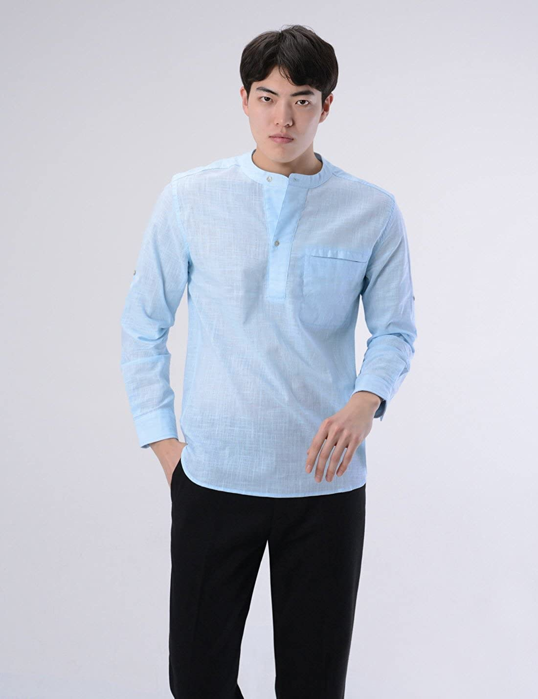 NEARKIN Roll up Long Sleeve Linen Banded Collar Slim fit Henley Shirts for Men