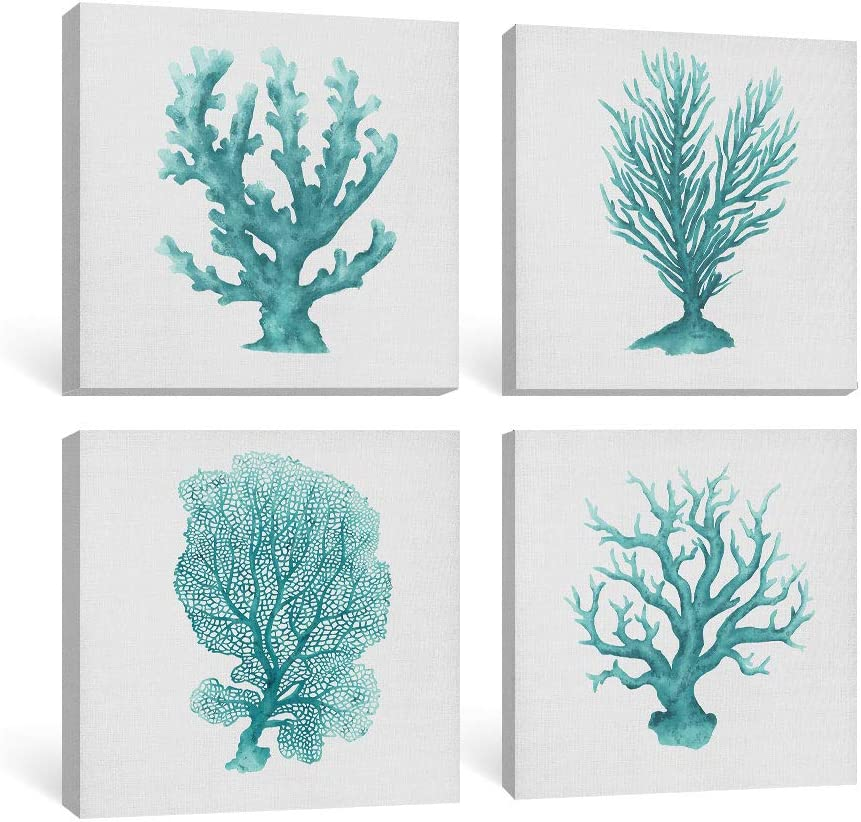Adecuado Modern Wall Art for Living Room Coastal Canvas Paintings Green Prints Coral Pictures Sea Life Artwork Ocean Animal Home Decor Ready to Hang for Bedroom Bathroom 12x12 Inch, 4 Panels