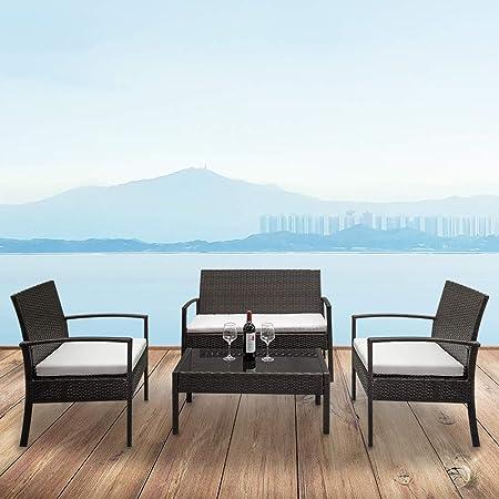 Amazon.com: Yirind Juego de 4 muebles de mimbre para patio ...