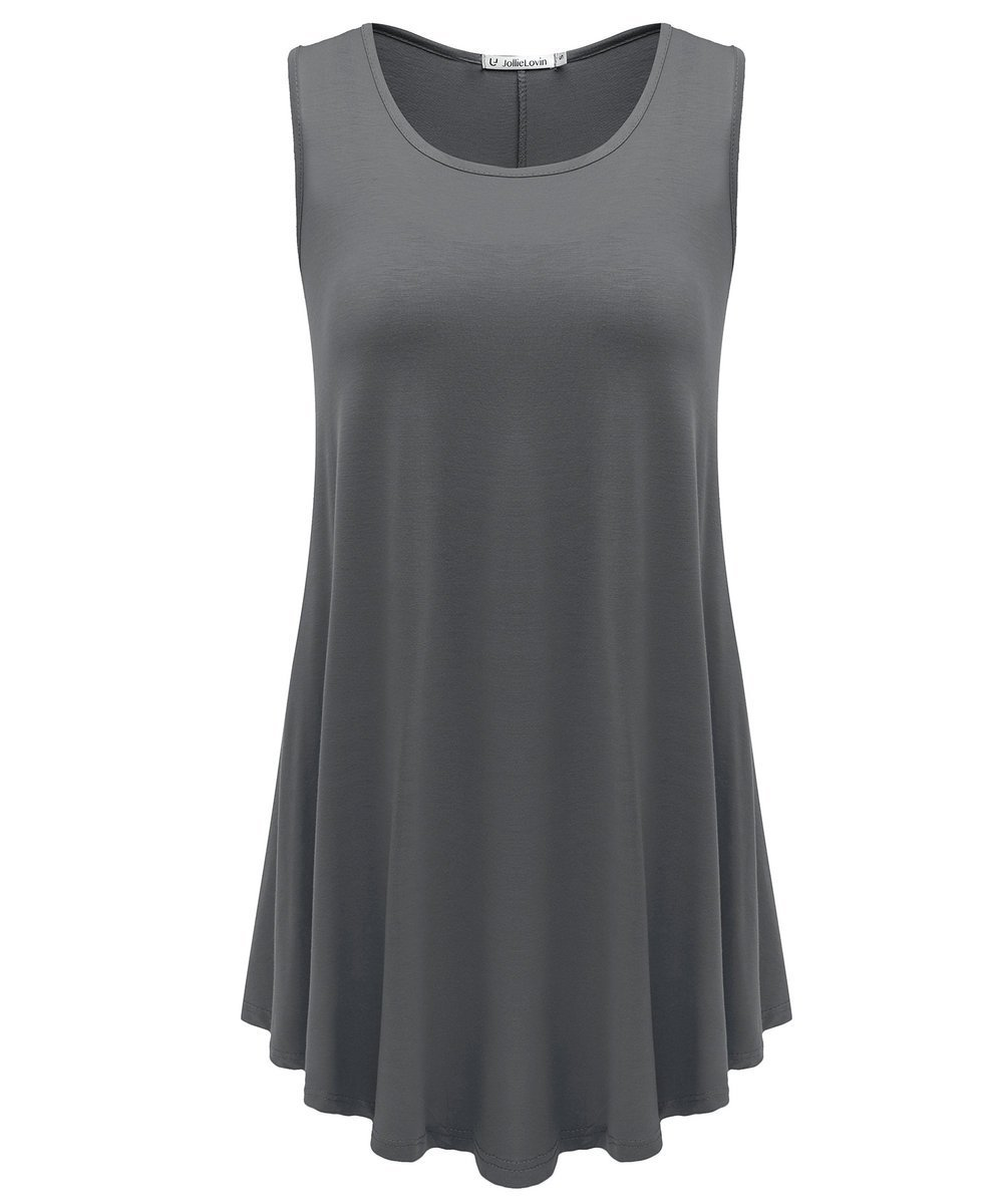 JollieLovin Womens Sleeveless Comfy Plus Size Tunic Tank Top with Flare Hem - Deep Gray, L