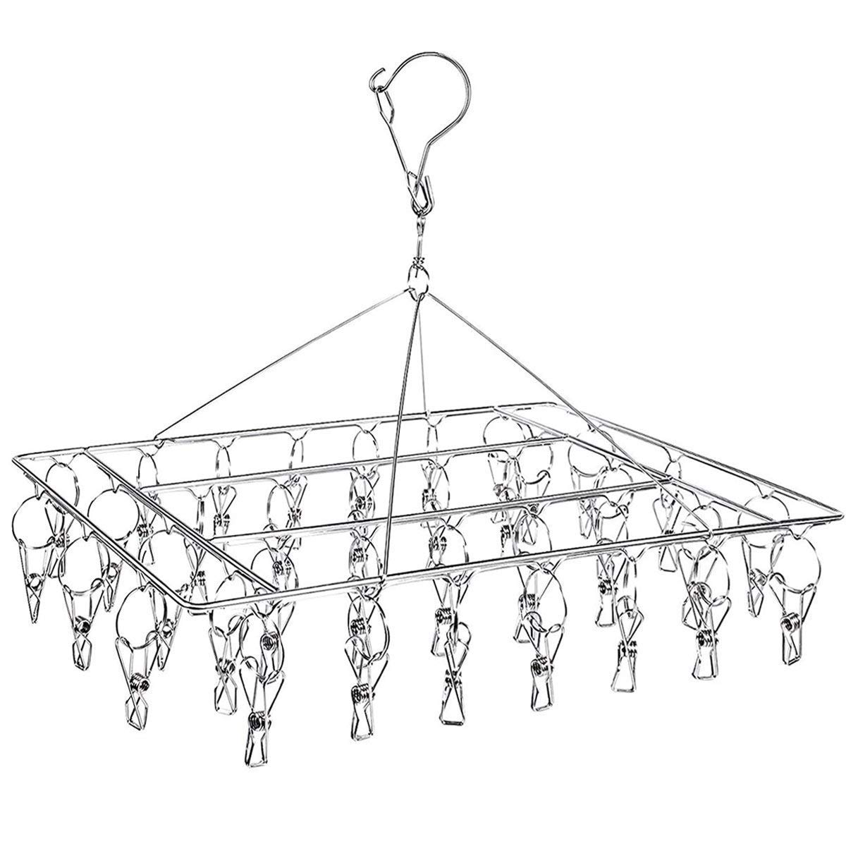 DUOFIRE Stainless Steel Clothes Drying Racks Laundry Drip Hanger Laundry Clothesline Hanging Rack Set of 36 Metal Clothespins Rectangle for Drying Clothes, Towels, Underwear, Lingerie, Socks (2 PACKS)