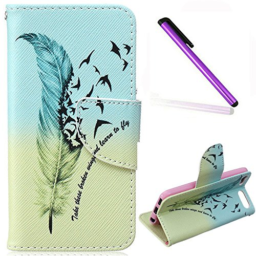 iPod Touch 5 Case iPod Touch 6 Case EMAXELER Wallet Case [Kickstand Flip Case][Credit Cards Slot][Cash Pockets] PU Leather Flip Folio Wallet Case with Stand For iPod Touch 5/6 - Goose Feather (Ipod Touch 5 Case Generic)