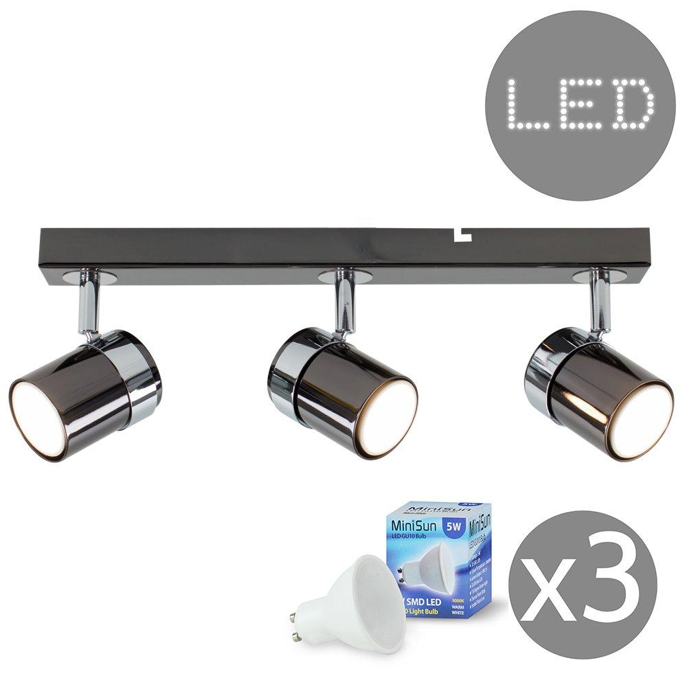 Modern 4 Way Gloss Grey /& Silver Chrome Straight Bar Ceiling Spotlight