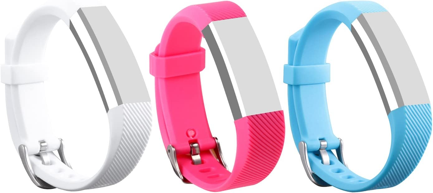 I-SMILE 3PCS Newest Version Colorful Replacement Wristband with Secure Clasps for Fitbit Alta Only No Tracker, Replacement Bands Only