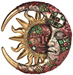 George S. Chen Imports Red Cracked Mosaic Crescent Moon & Sun Wall Plaque Decoration