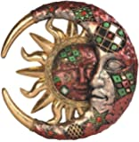 StealStreet SS-G-63070 Red Cracked Mosaic Crescent Moon and Sun Wall Plaque Decoration