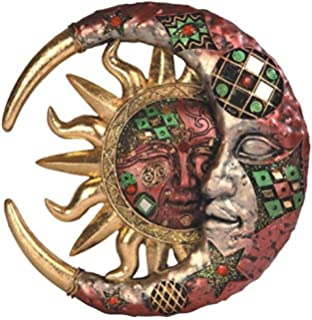 george s chen imports red cracked mosaic crescent moon sun wall plaque decoration - Sun Wall Decor