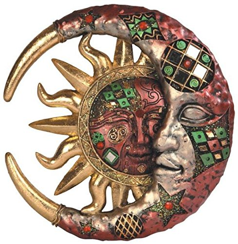 George S. Chen Imports Red Cracked Mosaic Crescent Moon & Sun Wall Plaque Decoration (Sun Moon Decor)