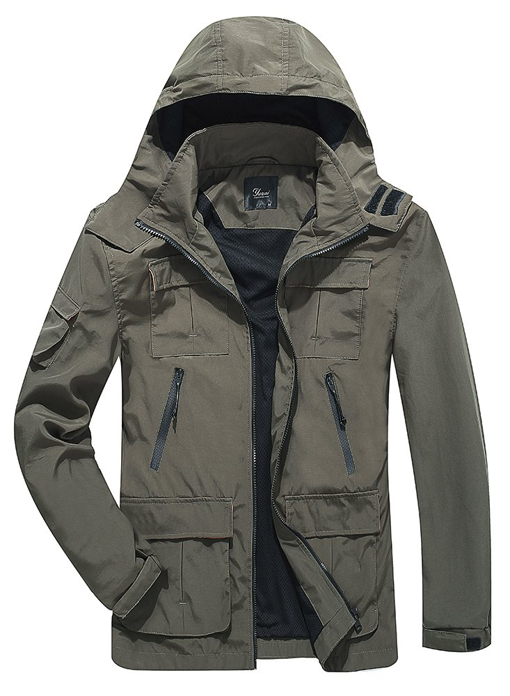 Yozai Men's Outdoor Sports Hooded Windproof Jacket Hooded Rain Jacket Plus Size (Large, Green) by Yozai