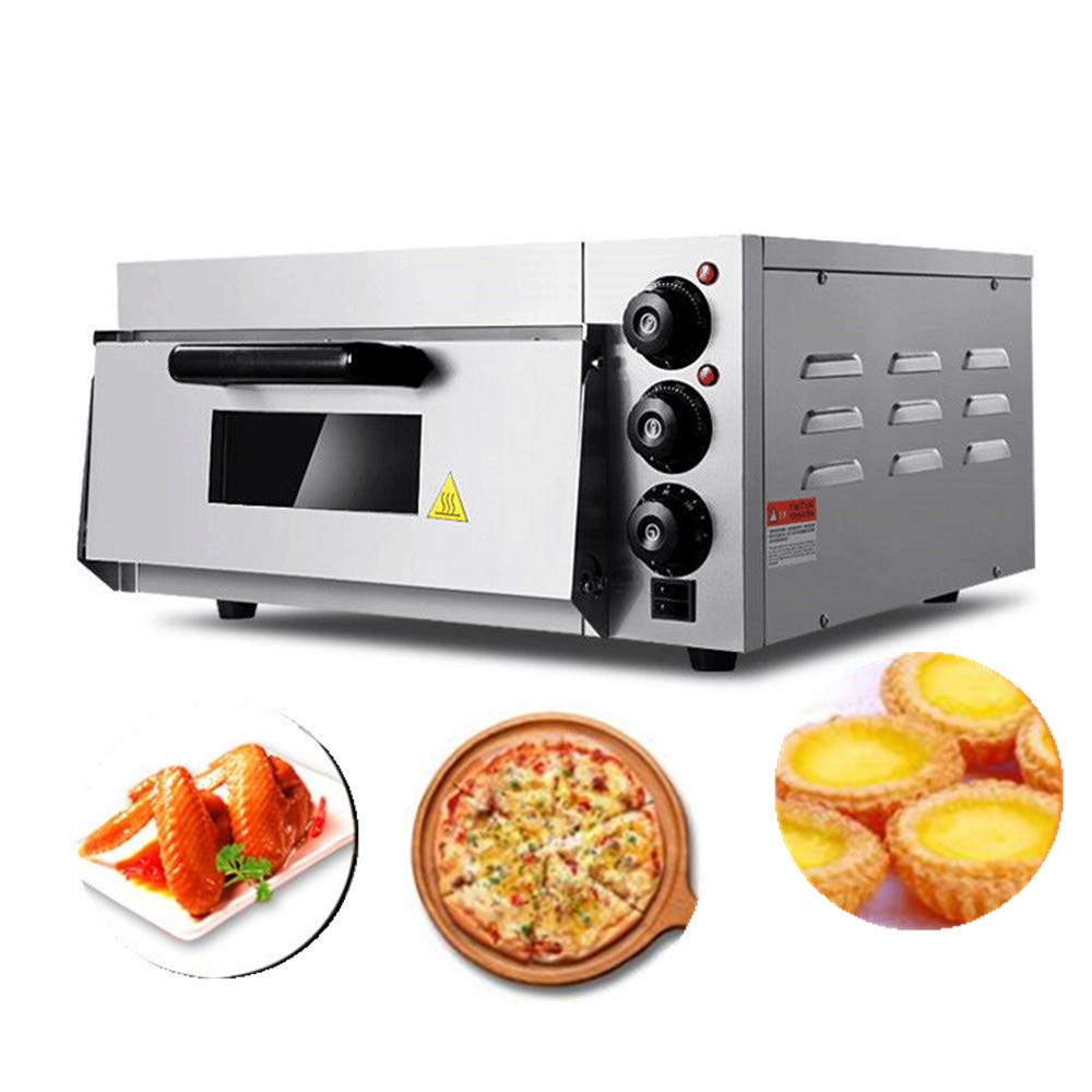 JIAWANSHUN Commercial Electric Pizza Oven With Timer for Making Bread Cake and Pizza 110V 2KW