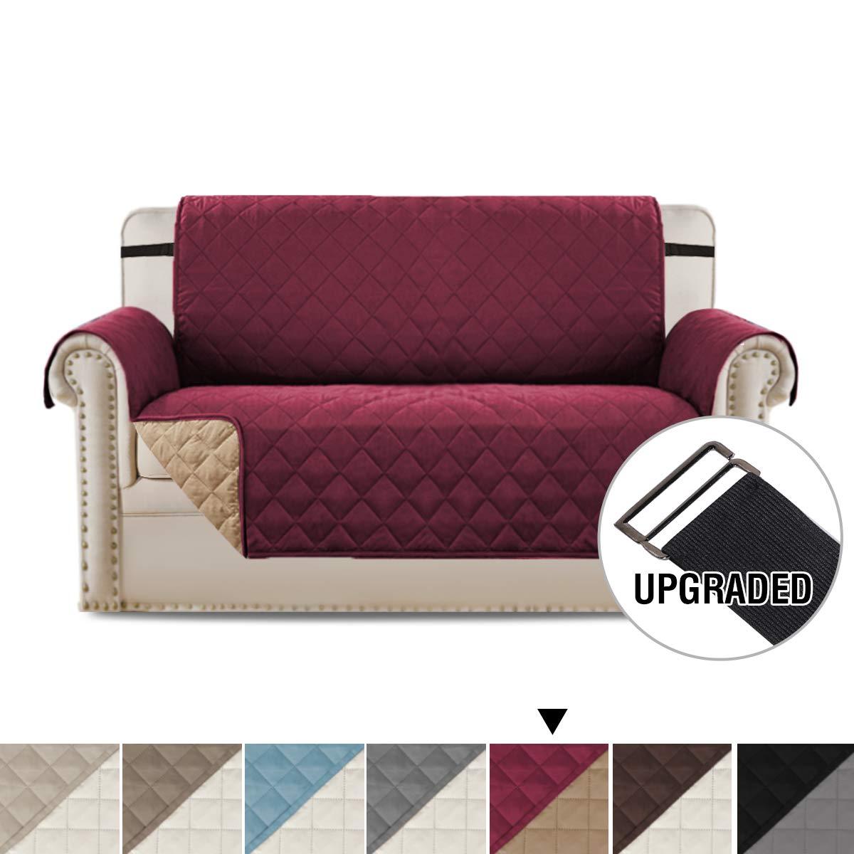 H. Versalitex 豪華な家具のプロテクター ホームファッション リバーシブル キルト 防水 暖かな居心地で効率的 柔らかくスエード調(椅子:バーガンディー/日焼け色)75インチx65インチ Love Seat - 75