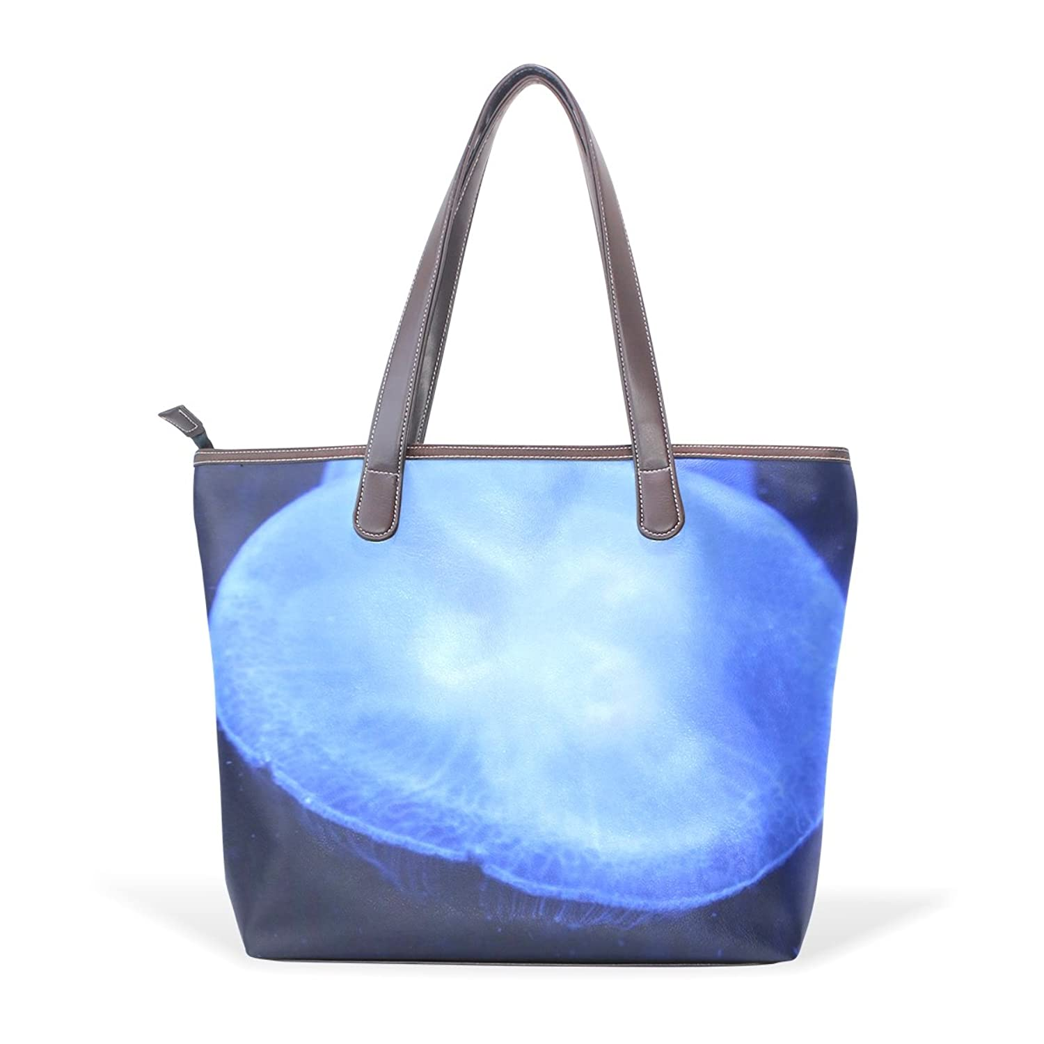 CCBHGY Women's Transparent Jellyfish pattern Leather Handbag Zipper Shoulder Bag Tote Bag