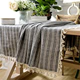 Ethomes Grey Cotton Linen Lace Checked Rectangle Tbale Cover Plaid Tablecloth for Home Dining Wedding Kitchen Picnic 43x63 inch (110x160cm)