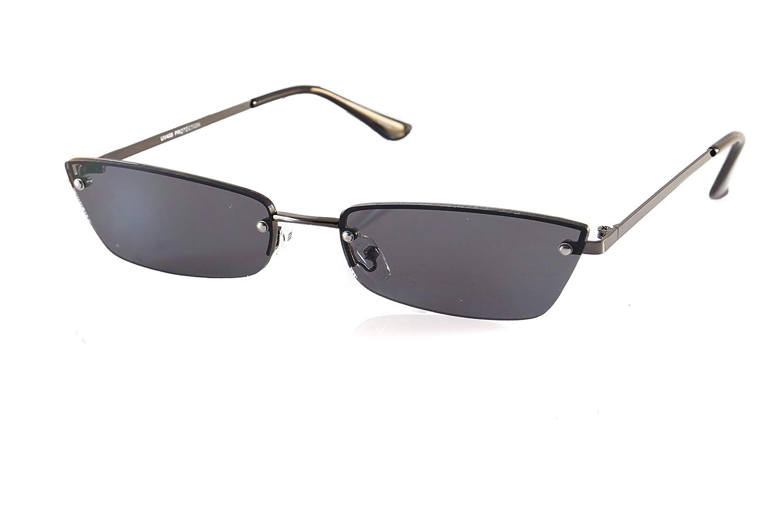 32ebb19448 Amazon.com  FBL Extended Rectangle Cat-Eye Semi Rimless Flat Lens Sunglasses  A238 (Black Black)  Clothing