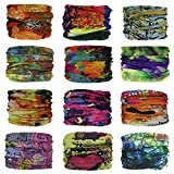 QBStrong 12PCS Face Bandana Mask, Elastic Seamless Bandana Mask for Men Women Kids for Fishing Cycling Running Yoga