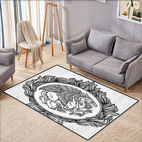 - Bedroom Floor Rug Vintage Mythological Winged Magic Beast Griffin in Ring of Fire Victorian Heraldry Emblem Black White Easy to Clean Carpet W5'9 xL4'9