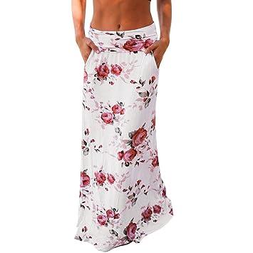Vovotrade® Blanco Bolsillo Recta Mujeres Verano Playa Floral Impresiones Baja Cintura Largo Vestido de Falda