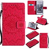 For Sony Xperia Z5 Case [Red],Cozy Hut [Wallet Case] Magnetic Flip Book Style Cover Case ,High Quality Classic New design Sunflower Pattern Design Premium PU Leather Folding Wallet Case With [Lanyard Strap] and [Credit Card Slots] Stand Function Folio Protective Holder Perfect Fit For Sony Xperia Z5 5,2 inch - red
