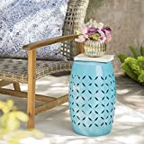 Lilly Outdoor 12'' Blue Iron Side Table