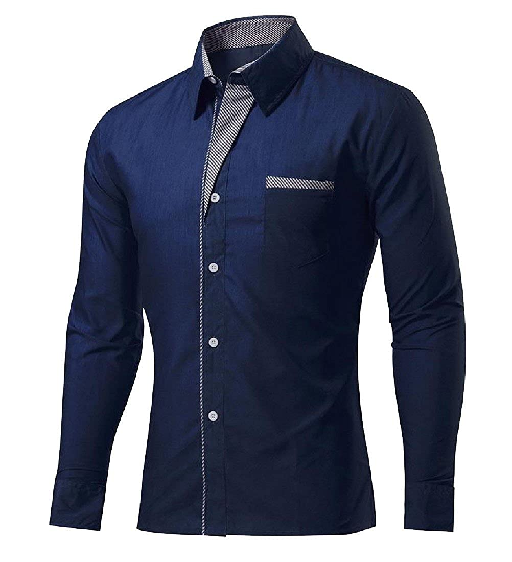 Coolred-Men Pure Color Basic Cotton Slim Plus Size Mulit Color Dress Shirts