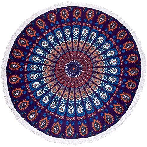 Microfiber Round Beach Towel - Large Roundie Printed Beach Throw By LISH (Tiger (Seasons Music Festival)