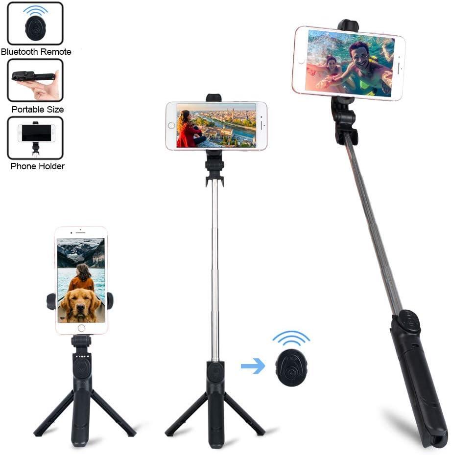 NOBRAND Palo Selfie, 3 in 1 Palo Selfie Trípode Inalámbrico 360° Rotación con Obturador Bluetooth para iPhone/Samsung/Huawei/Xiaomi
