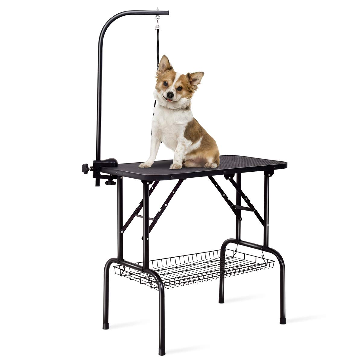 Giantex 32'' Pet Grooming Table for Dogs Cats, Foldable Dog Grooming Station, Height Adjustable Arm Clamp, Hanging Noose, Mesh Tray, Non-Slip Rubber Top, Support up to 220lbs
