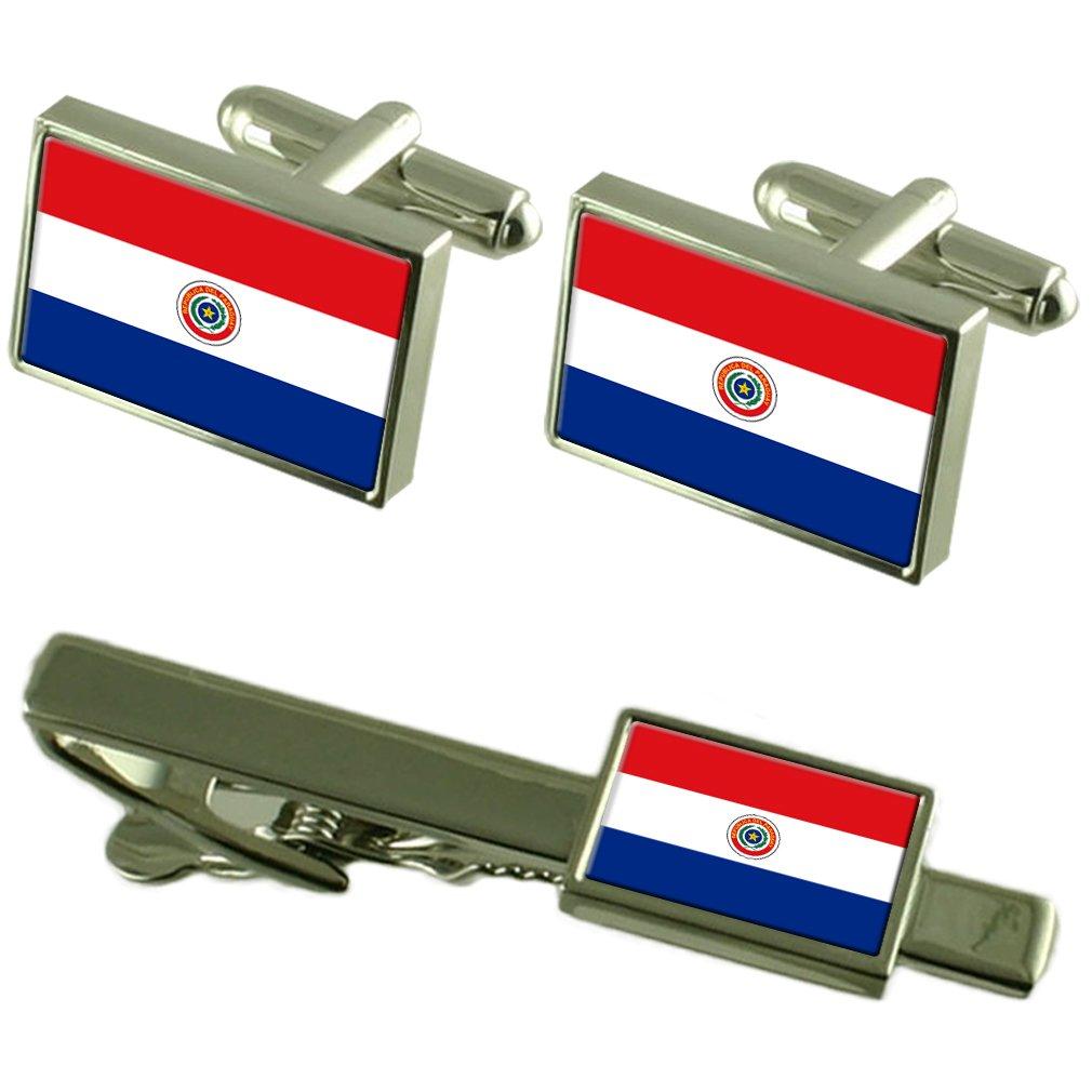 Paraguay Flag Cufflinks Tie Clip Matching Box Gift Set