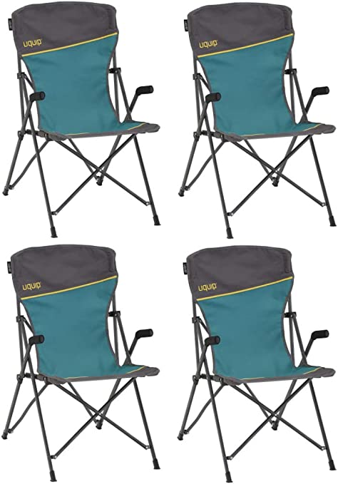 Blue//Gray Uquip Roxy Comfort Folding Chair with Cup Holder and Bottle Opener