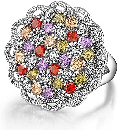 Mytys Retro Vintage White Gold Plated Black Marcasite Colorful Crystal Round Lace Fashion Rings