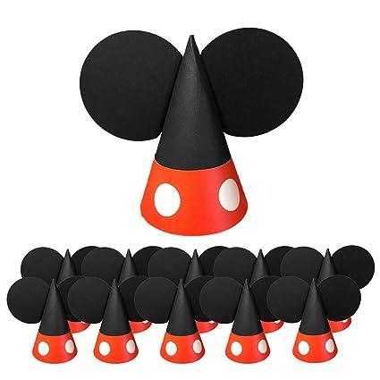 Amazon.com: Kreatwow Mickey Paper Hats Birthday Cone Hats ...
